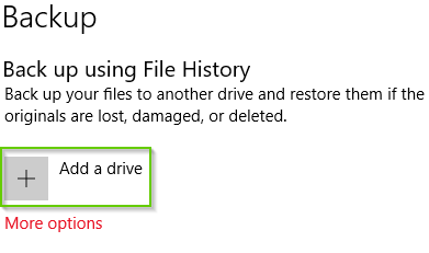 Windows 10 backup settings page showing add a drive highlighted.