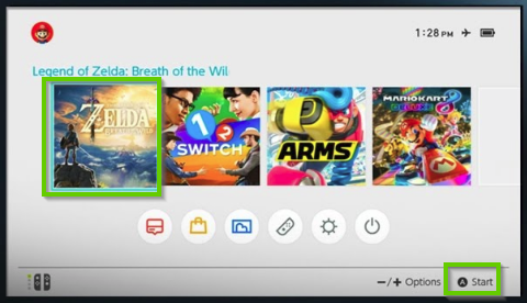 Nintendo Switch home screen highlighted the inserted game.