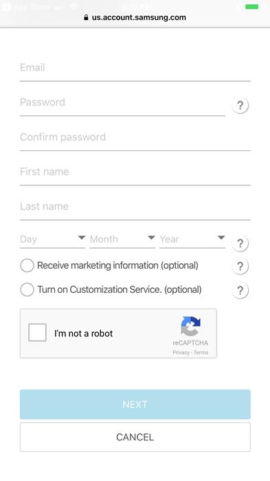 Samsung account information