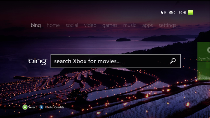 Xbox 360 Bing search