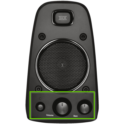 A speaker showing the volume dial and power button