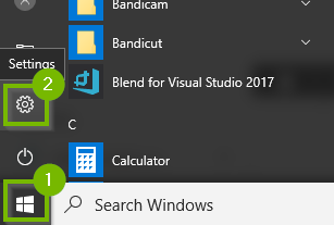 Windows 10 start menu showing settings highlighted