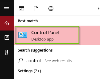 Windows 10 search results with control panel highlighted.