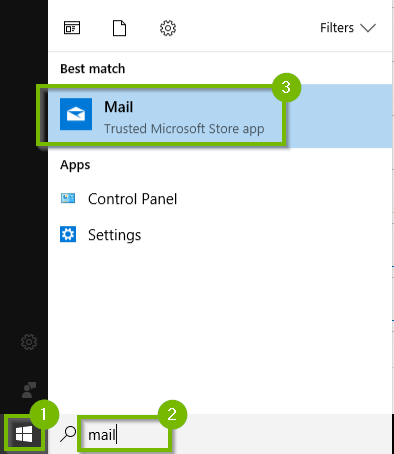 Windows 10 start menu and search bar showing Mail app
