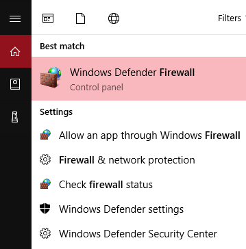Windows 10 start menu with windows defender firewall selected