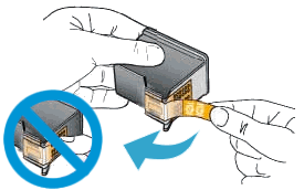 Illustration of protective plastic tape being removed from a new ink cartridge, and a warning to not touch the copper contacts.