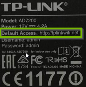 Example of TP-Link label with default access address highlighted