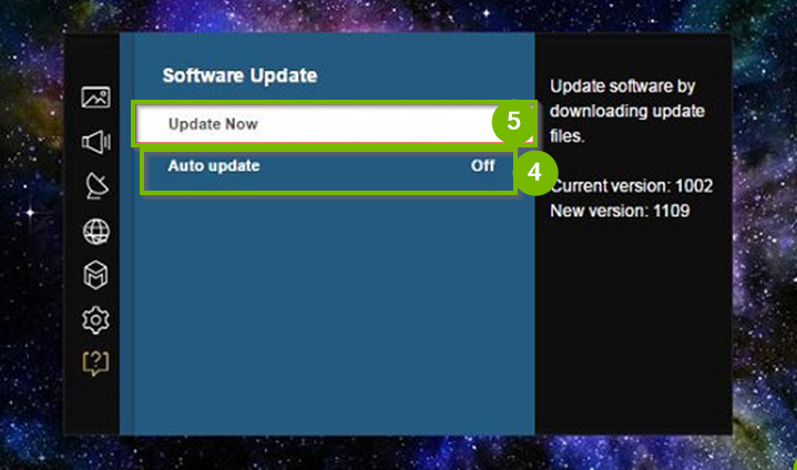 Software Update menu with Update Now selected. Screenshot.