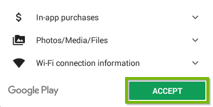 Android Play store app with the accept button highlighted.