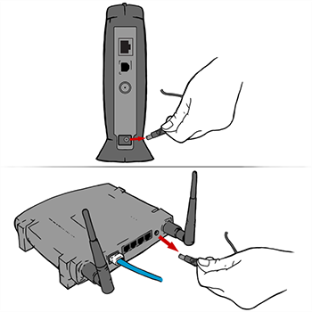 Unplugging power from modem and or router. Illustration.