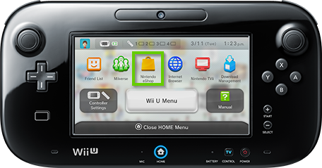Wii u gamepad showing the nintendo eshop
