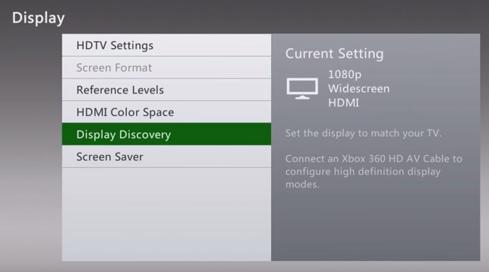 Xbox 360 display settings showing display discovery selected
