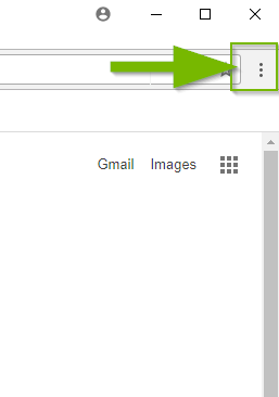 Chrome window with menu button highlighted