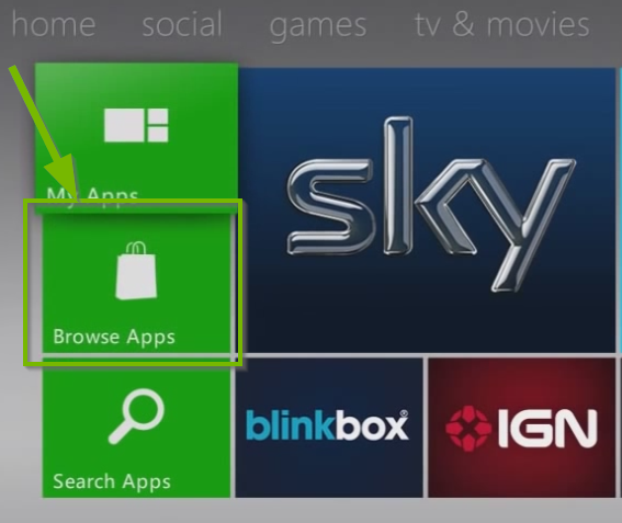 Apps menu with browse apps highlighted