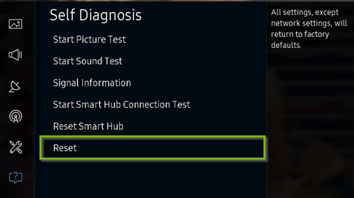 Self Diagnosis menu with Reset selected. Screenshot.