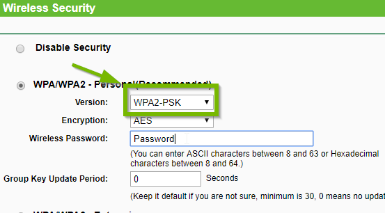 Wireless Security with WPA2-PSK highlighted