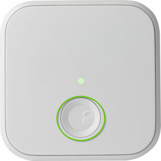 August Connect device with the top button circled