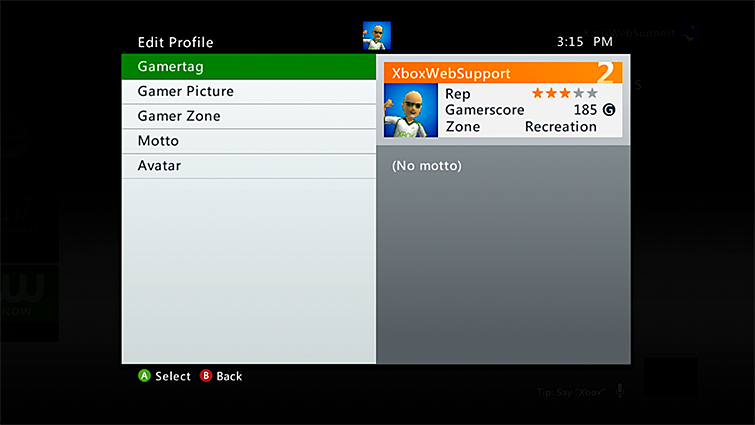 Xbox 360 edit profile with gamertag selected