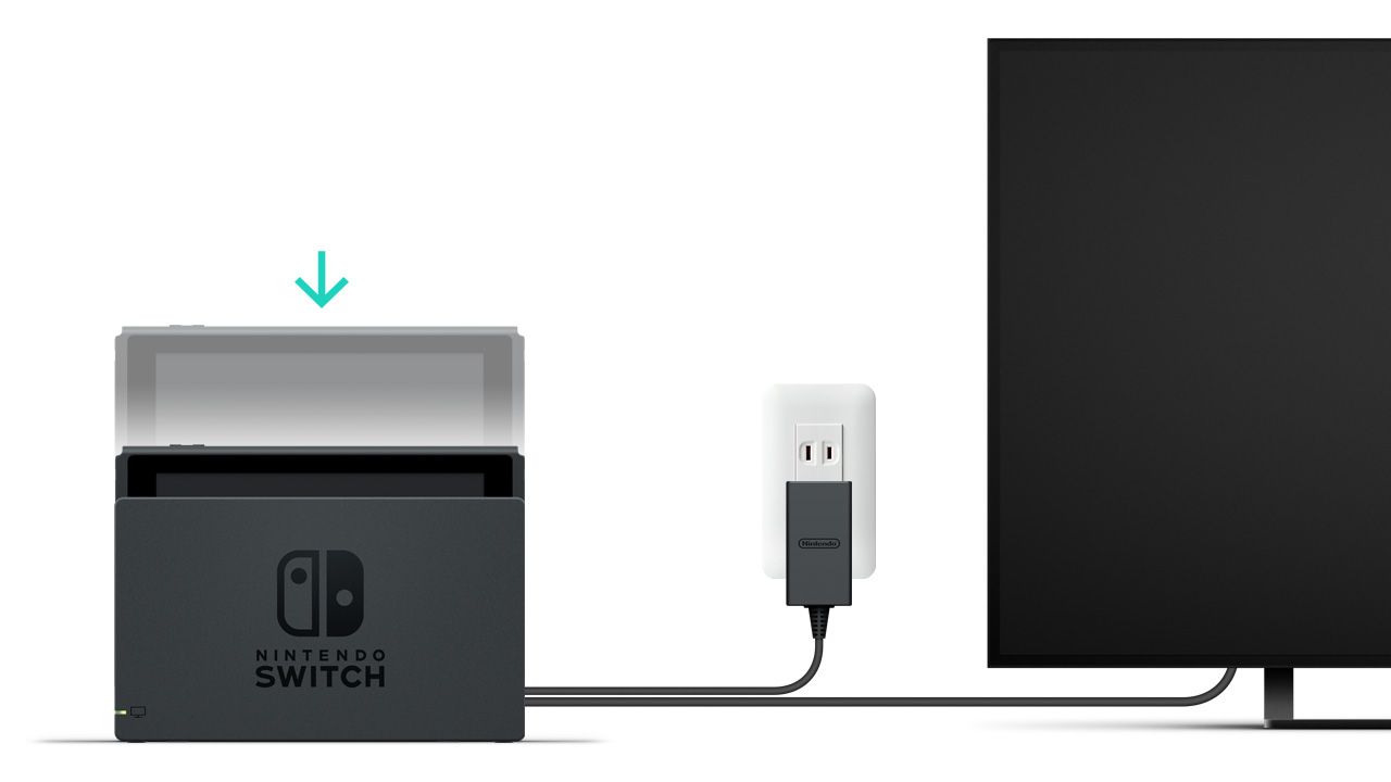 Nintendo switch dock showing the console inserted