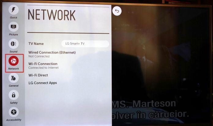 LG TV screen settings menu with network selected