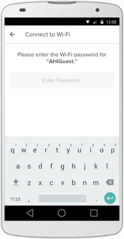 August Home app Wi-Fi setup page with keyboard for password