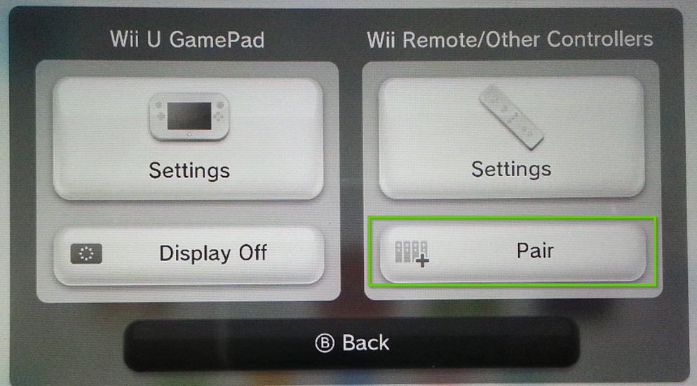 Wii u controller settings menu with pair highlighted
