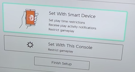 Nintendo switch select of whether to setup parental controls with a smart device or with the console