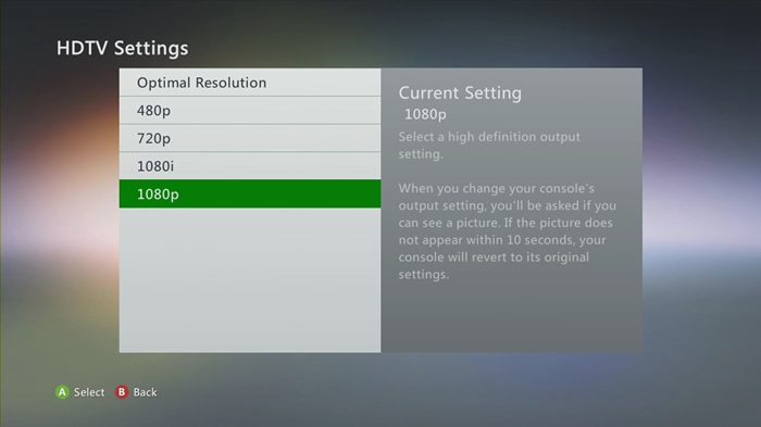 Xbox 360 hdtv settings with 1080p selected