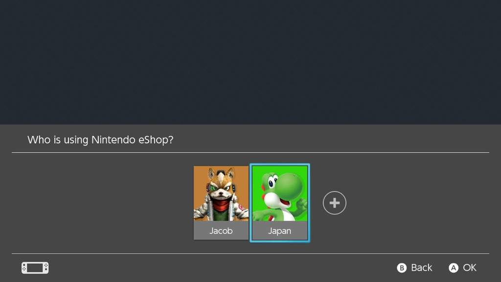 Nintendo Switch select a user account screen.