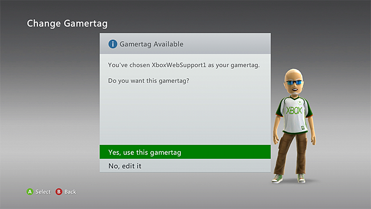 Xbox 360 yes use this gamertag selection