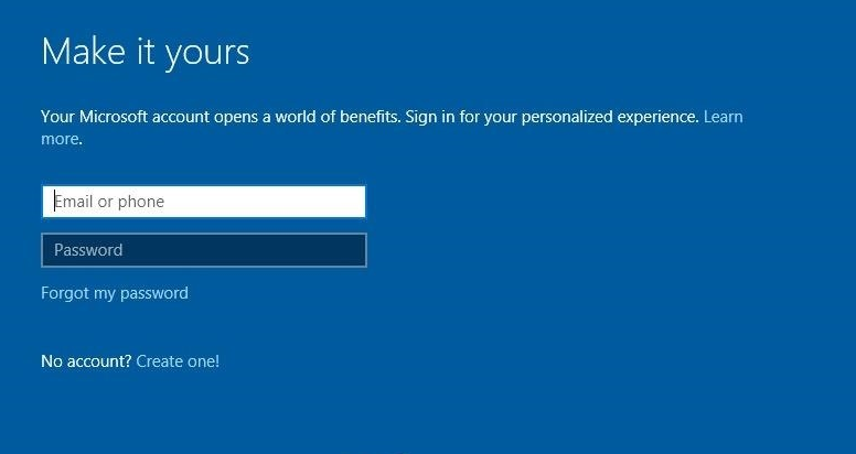 Windows 10 prompting the user to sign into or create a Microsoft account.