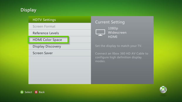 Xbox 360 display settings with hdmi color space selected