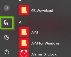 Windows 10 start menu showing the folder icon