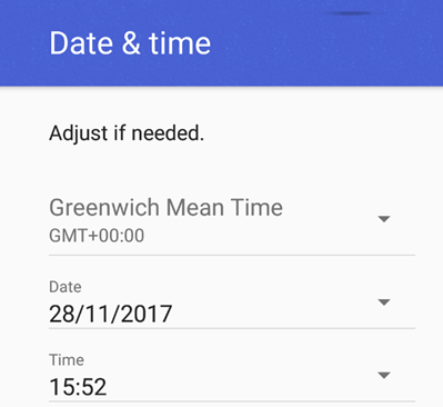 Android menu showing date and time