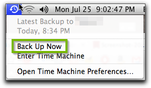 Time Machine menu with Back Up Now selected. Screenshot.