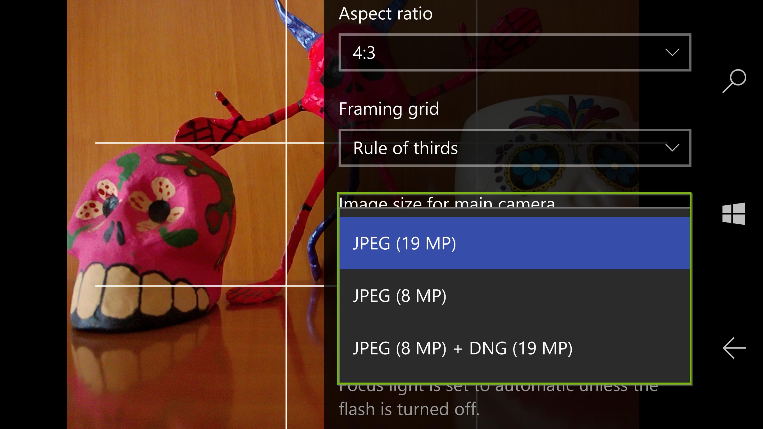 Image size setting drop down box. Screenshot.