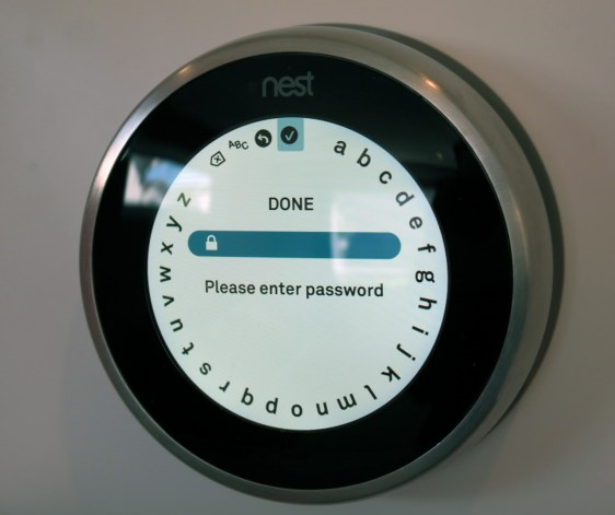 Nest thermostat showing password field