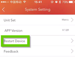 Veryfitpro system settings menu with restart device highlighted