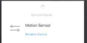 Smartthings app showing it found a device