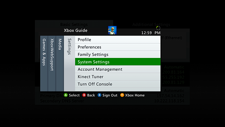 Xbox 360 settings menu with system settings selected