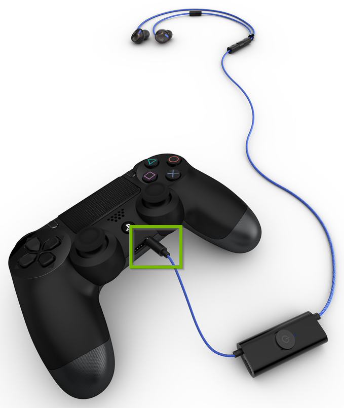 Earphones plugged into controller's 3.5mm jack.