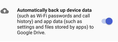 Android menu showing auto backup as on