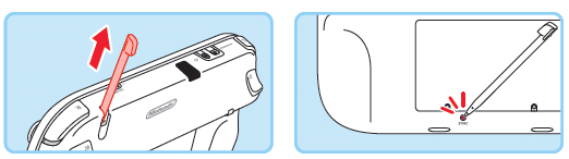 Using the wii u stylus to press the sync button