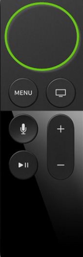 Apple tv remote showing touch surface