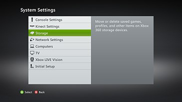 Xbox system settings with storage highlighted