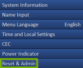 A vizio tv menu showing reset and admin highlighted