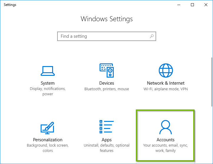 Windows 10 settings menu showing Accounts highlighted