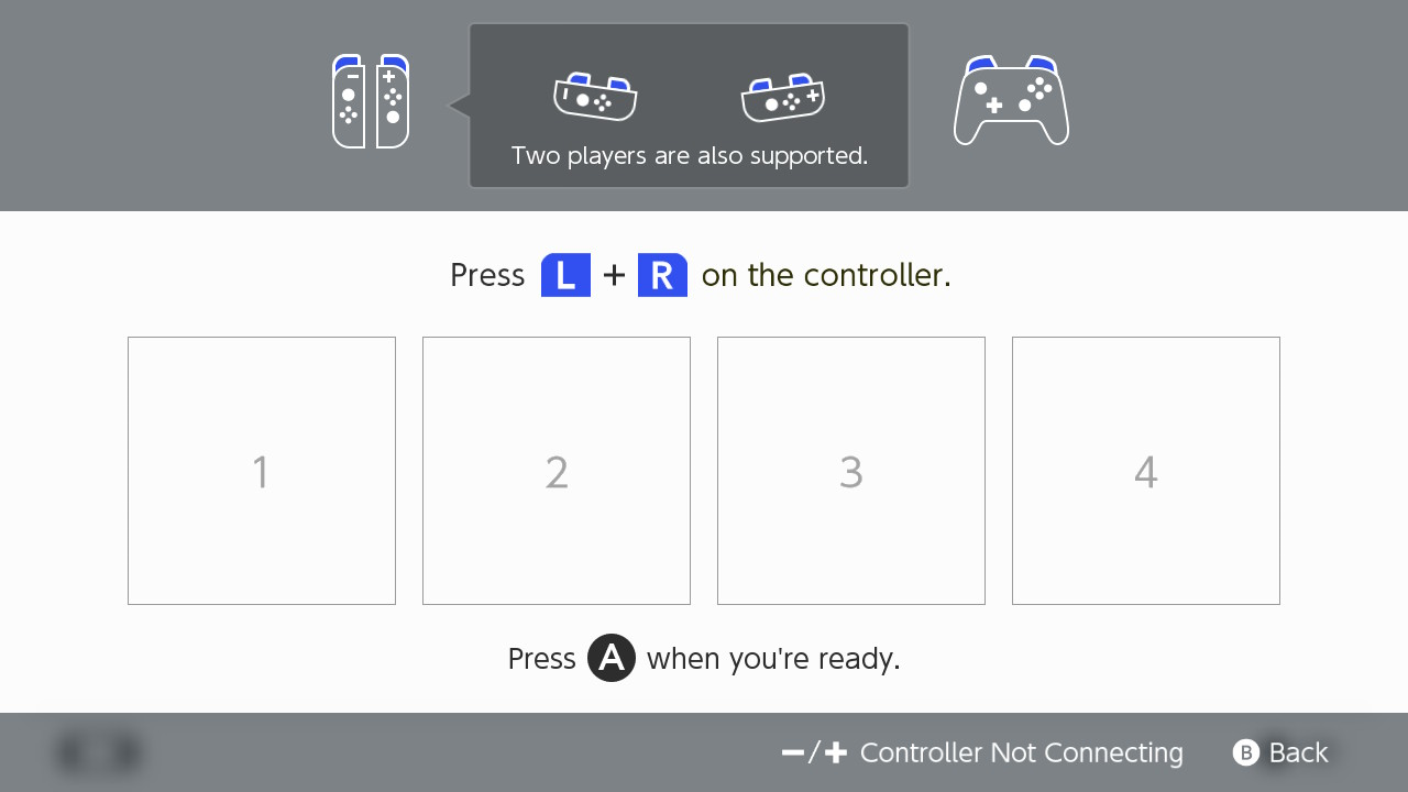 Nintendo Switch screen showing controllers connecting.Command to press L+R on the controller