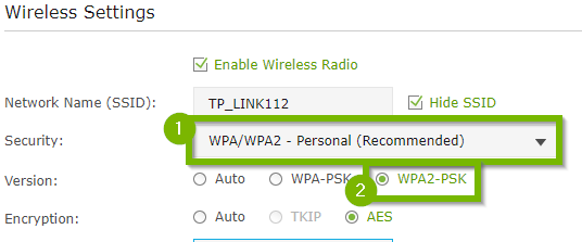 Wireless Settings with 1. Security WPA/WPA2 Personal (Recommended) and WPA2-PSK highlighted