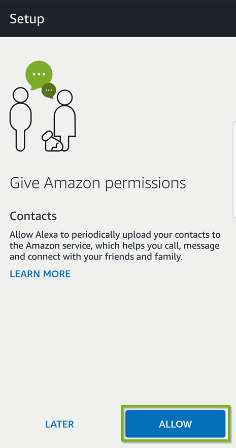 Give Amazon permissions prompt with Allow selected. Screenshot.